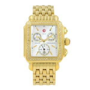 Michele Decol Gold Tone Diamond MOP Ladies Watch